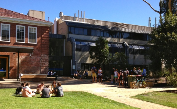 The barbecue, outside the Melbourne School of Land and Environment.